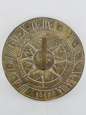"""Vintage Brass Sundial """"I Only Count Your Sunny Houres 1661""""  (6 inches diameter)"""