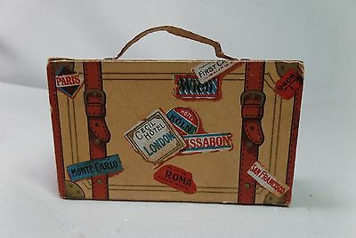 Antique SUITCASE CANDY CONTAINER CHRISTMAS ORNAMENT Ca 1920s Paper  Cardboard