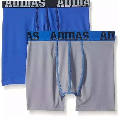 Adidas Boy's Climalite Boxer Briefs Underwear (2-Pack) Youth S M L XL New Sealed