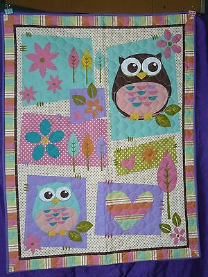 Blue Owls Cot Quilt or Playmat Handmade NEW