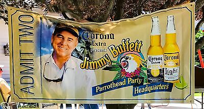 Jimmy Buffet Admit Two 71x36 Banner Sign Parrot Head Party Headquarters Corona