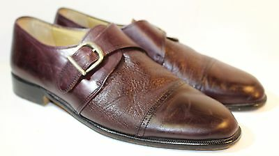 c56d31ab94b03 VITO RUFOLO BROWN LEATHER MONK STRAP CAP TOE LOAFERS Mens Sz 8 Made In Italy