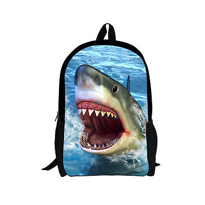 Junior School Backpack Children Boys Cool Shark Shoulder Book Bag Rucksack Mens