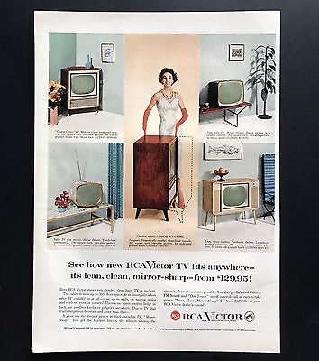 1957 Vintage Print Ad 1950s RCA VICTOR Television Set Woman in Formal Dress