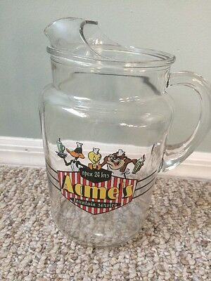 Vintage Large Acme's Fountain Service PITCHER Warner Brothers Clear Glass
