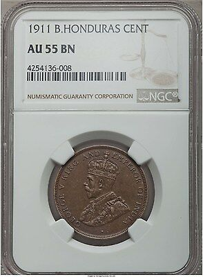 1911 British Honduras 1 Cent, NGC AU 55, Scarce Date