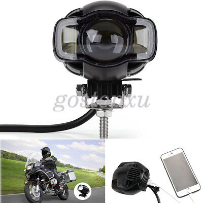 Motorcycle LED Spot Driving Fog Lamp Auxiliary Light + USB Port For Harley BMW