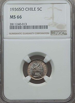 1936 SO Chile 5 Centavos, NGC MS 66, Single Finest Known, Superb