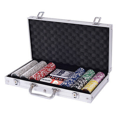Poker Chip Set 300 Dice Chips Texas Hold'em Cards with Silver Aluminum Case New