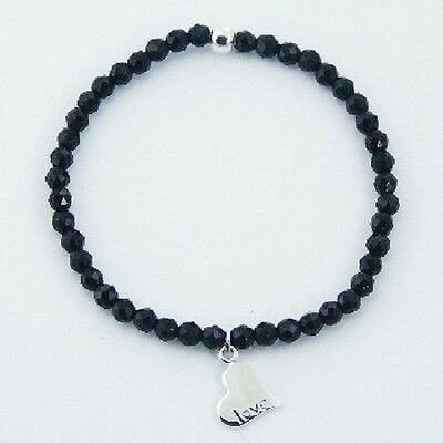 Handcrafted Stretch bracelet 4mm Black Agate Faceted beads silver heart charm