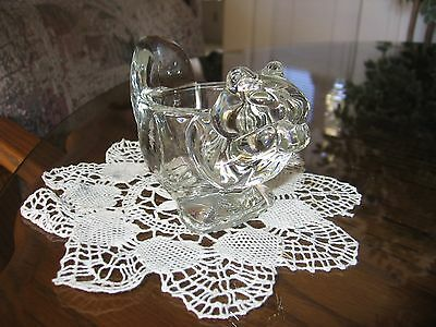 Avon Clear Glass Squirrel Candle Holder with Tea Lite, Exc. Cond. Bright, Clean