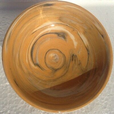 Hand Tossed Carmel Swirl  Footed Rice Bowl Stoneware 5""