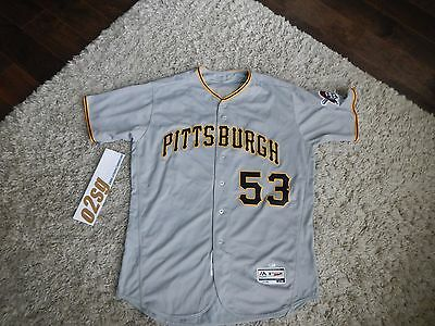 PITTSBURGH PIRATES TEAM ISSUED MAJESTIC GRAY ROAD JERSEY # 53 LOBSTEIN MLB grey