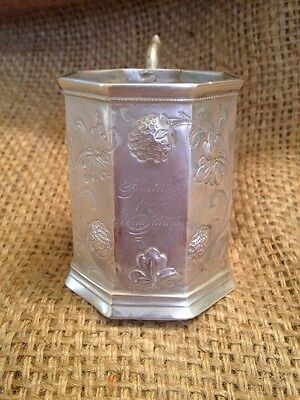 Antique Repousse Sterling Silver Presentation Inscribed Cup Mug Chrysanthemum