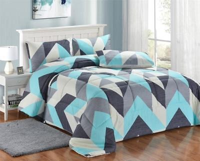 Aqua & White Dots 3 Pc Quilted Comforter Set Winter Warm Bedding - King  Size