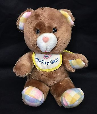 AmToy Baby Soft Touch My First Bear Bib Brown Plaid Teddy Plush Lovey Vtg 1982