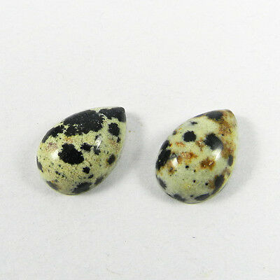 1 Pair Natural Dalmation Jasper Gemstone 10x15mm Pear Cab 12.25 cts Stone ER6413