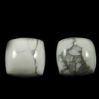 1 Pair Natural Howlite Gemstone 12x12mm Cushion Cab 18.2 Cts Stones ER4190