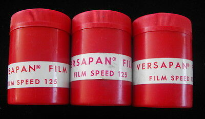 3 Vintage Rolls of GAF Versapan 35mm Film 125 Speed 20 Exp w/ Canisters - 1970s