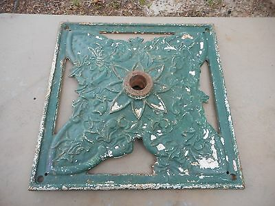 "Early Antique Ornate Green Cast Iron Umbrella Stand Base 20"" x 20"""