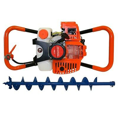 62cc Petrol Posthole Digger With 100mm Earth Auger Fence Borer Post Hole
