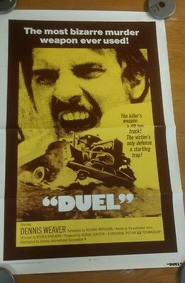 "DUEL Original One Sheet Movie Poster 27x40"" Very Rare Spielberg First Movie1971"