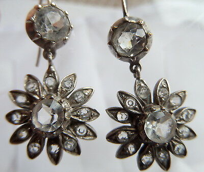 Georgian/ Regency  Silver and Crystal Paste Earrings