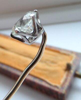 Antique 2ct White Sapphire and Gold Stick Pin- Boxed