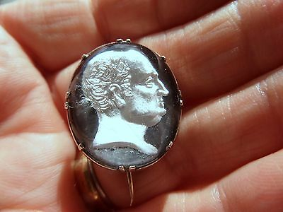 Antique Gold William IV Intaglio Carved Crystal Paste Mourning Brooch-Rare item