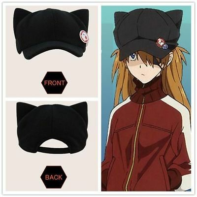 EVA EVANGELION Hat Asuka Langley Cat Ear plush Hat Peaked Cap Casquette
