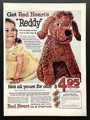 1957 Vintage Print Ad 1950s RED HEARTS Dog Food Mascot Stuffed Animal Image