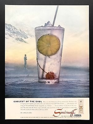1957 Vintage Print Ad 1950s SMIRNOFF Vodka Image Mixed alcohol Drink