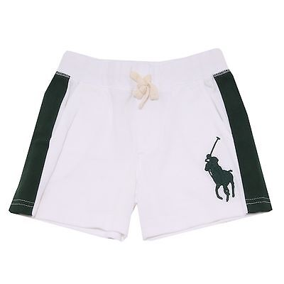 0187T bermuda felpa bimbo POLO RALPH LAUREN bianco/verde trousers short kid