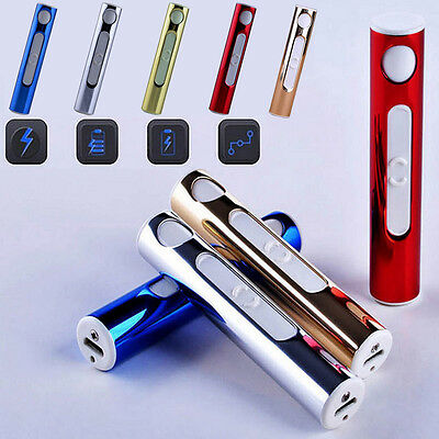 Rechargeable Electric Lighter Smoke Heated Mini Windproof USB Metal Shell