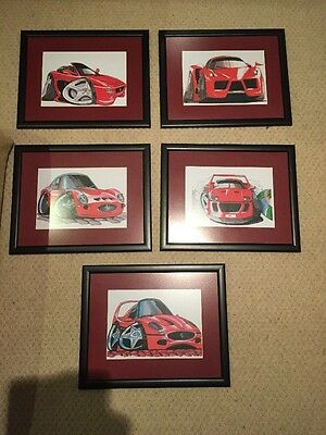 Set Of 5 Framed Ferrari Koolart Pictures