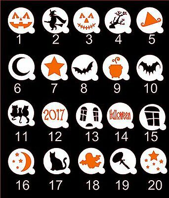 Halloween Cupcake / Coffee Stencils / Masks - 2 sizes - cakes / cards / crafts
