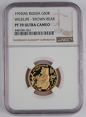 Russia 1993 1/4 Oz Gold 50 Rouble Wildlife Brown Bear Proof Coin NGC PF70 @RARE@