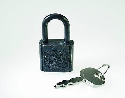 (Lot of 10) Mini Padlock Small Tiny Box Lock with Keys (BLACK COLOR) - NEW