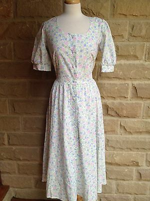 Genuine Vintage Nightingales Floral 1980s Cotton Summer Dress Size 14/16