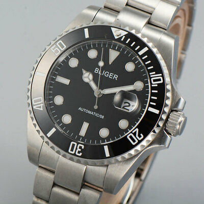 43mm Bliger black dial ceramic bezel Date Sapphire Automatic Movement mens Watch