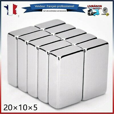 Lot Aimants Puissants De Néodyme 20X10X5mm NdFeB N52 Force 4kg/aimant Magnetique