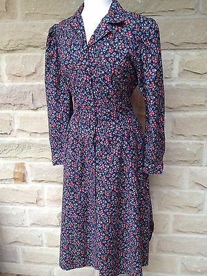 Vintage St Michael Floral 1970s Gypsy Cotton Dress Size 14/16 Long