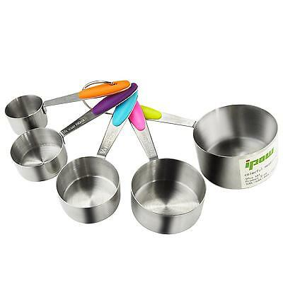 Ipow 5 PCS Stainless Steel Stackable Measuring Cups Set with Soft handle to...