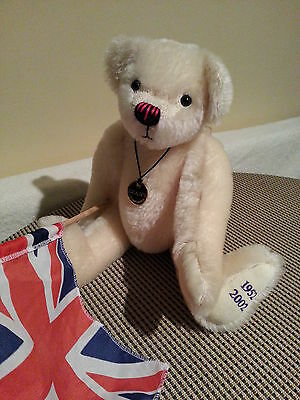 "Deans Teddybears   White Mohair Bear Ltd Edition Waving The Flag 14""tall"