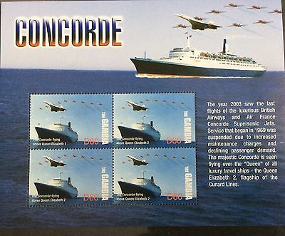Gambia 2004 MNH Concorde and Red Arrows flying  QE2 Cunard 4v M/S Ships Stamps