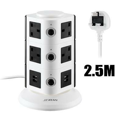 JZBRAIN Tower Surge Protector Power Strip Extension Lead 2.5m Cord with 4...