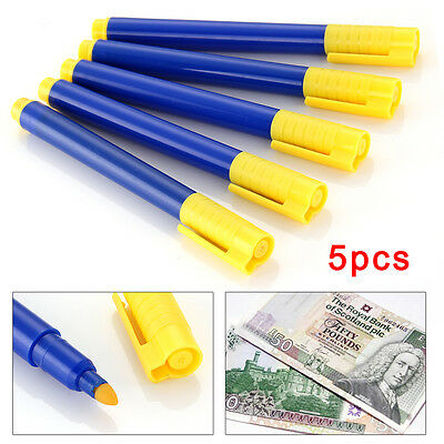 5 x Money Tester Pen Counterfeit Bank Note Detector Pens - Same Day Dispatch
