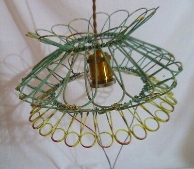 Vintage Rustic Wire Basket Plant Hanging Light Shade Handcrafted Retro Lamp #1
