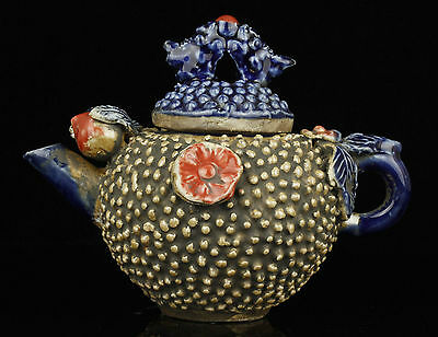 Superb China Collectible Old Handwork Carving Painting Porcelain Teapot