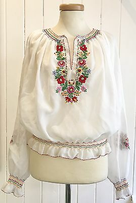 Vintage Retro 1970's Embroidered Peasant Blouse Size 10/12 Festival Boho Gypsy